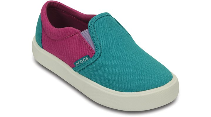 Crocs Turquoise / Party Pink Kids' Citilane Slip-On Sneaker Shoes