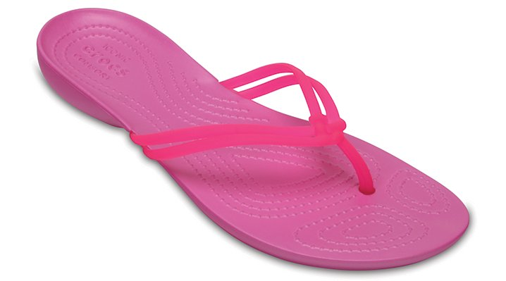 Crocs Vibrant Pink / Party Pink Women's Crocs Isabella Flip Shoes