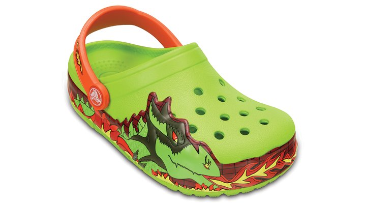 Crocs Volt Green Kids' Crocslights Fire Dragon Clog Shoes