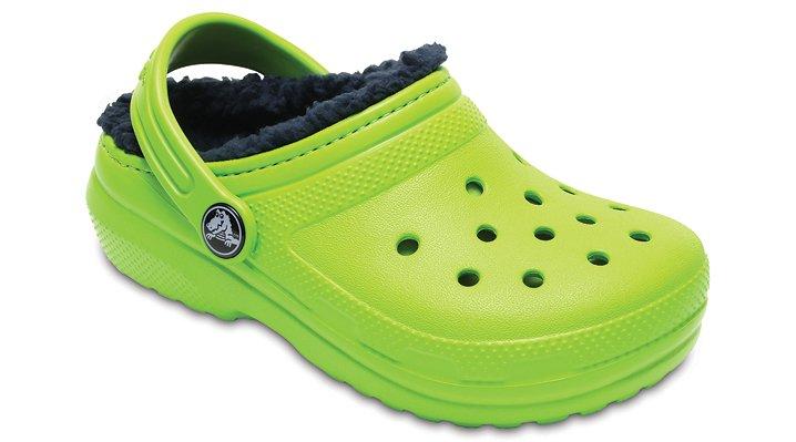 Crocs Volt Green / Navy Kids' Classic Fuzz Lined Clog Shoes