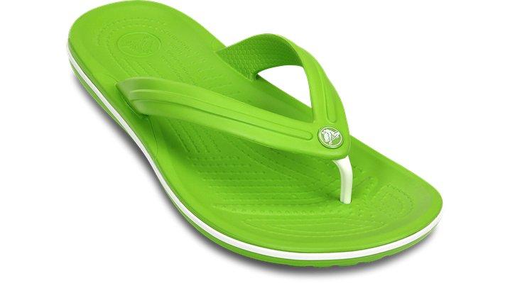 Crocs Volt Green / White Crocband™ Flip Shoes