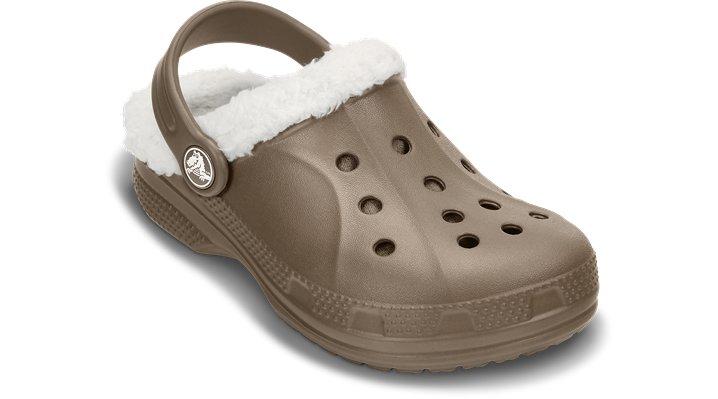 Crocs Walnut / Oatmeal Kids' Ralen Fuzz Lined Clog Shoes