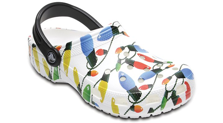 Crocs White Classic Holiday Clog Shoes