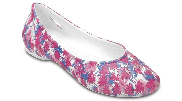 Crocs White Women's Crocs Kelli Graphic Flats Shoes