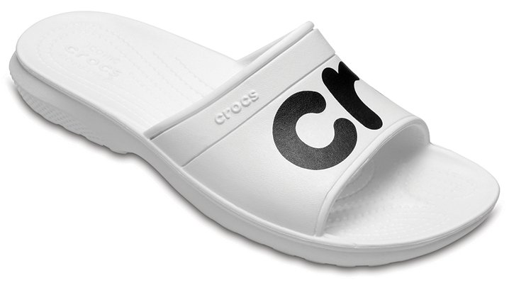 Crocs White / Black Classic Graphic Slides Shoes