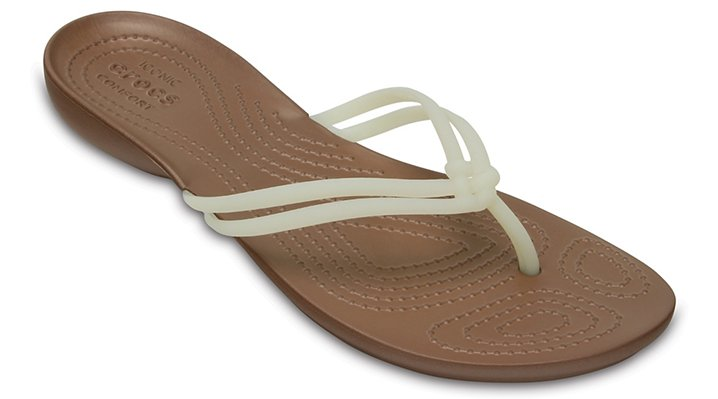 Crocs White / Bronze Women's Crocs Isabella Flip Shoes
