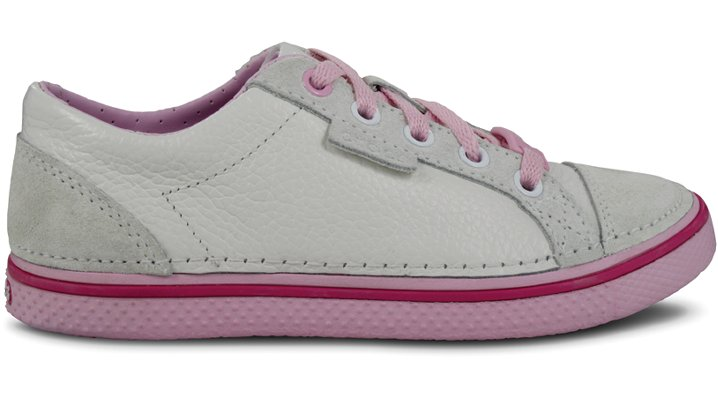 Crocs White / Bubblegum Kids' Hover Leather Sneak Shoes