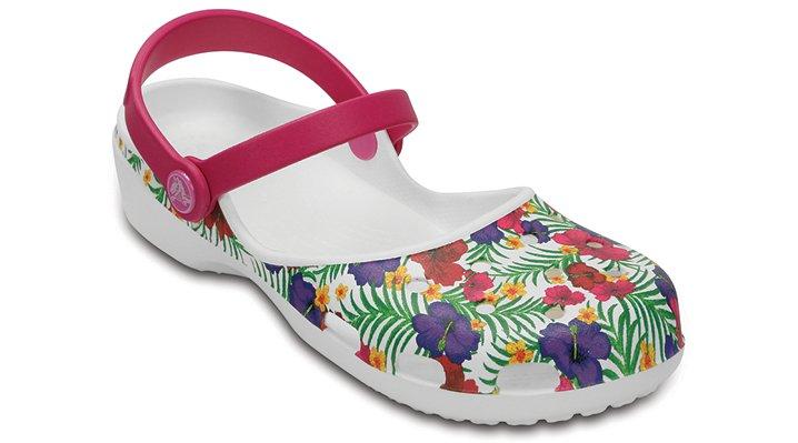 Crocs White / Floral Women's Crocs Karin Graphic Clog Shoes
