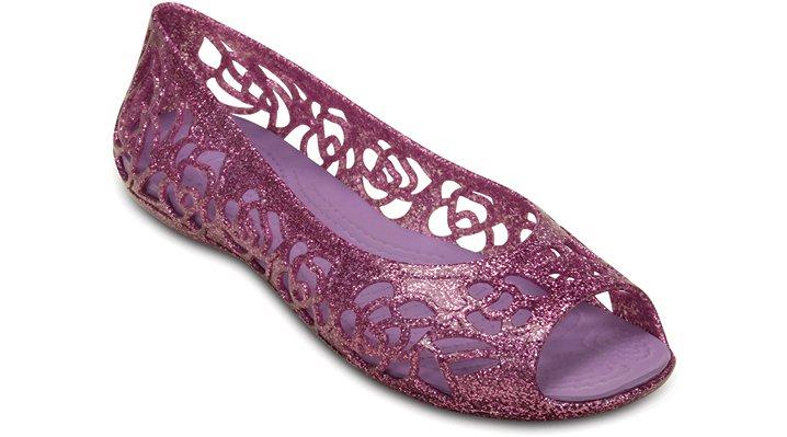 Crocs Wild Orchid / Iris Crocs Isabella Glitter Flat (Juniors') Shoes