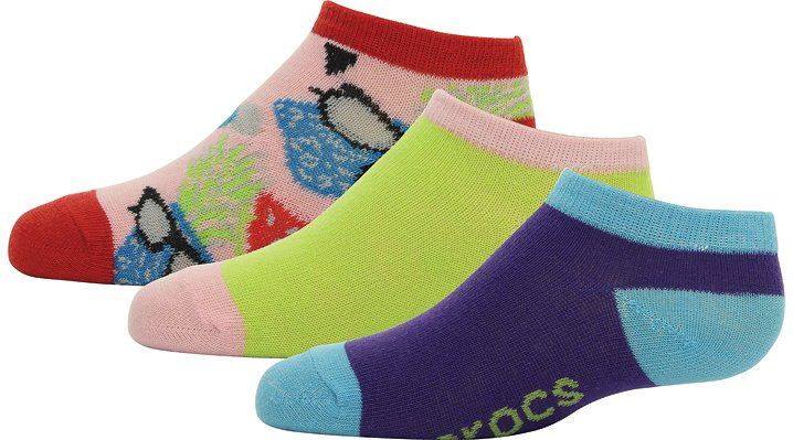 Crocs Yellow / Bubblegum Kids' Low Fashion Socks 3-Pack Shoes