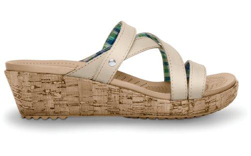 crocs womens a leigh mini wedge leather sandal 9 stucco