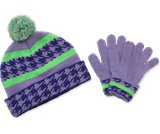 En miniatyrbild av Girls' Houndstooth Hat & Mitten Set