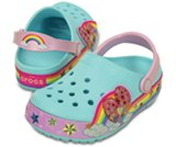 crocslights rainbow heart clog kids
