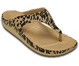 Tong à motifs de léopards Sloane de Crocs pour femme