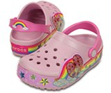 Sabots Rainbow Heart CrocsLights