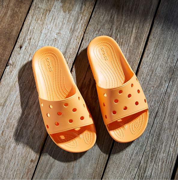 Classic Crocs Slide in Canteloupe.