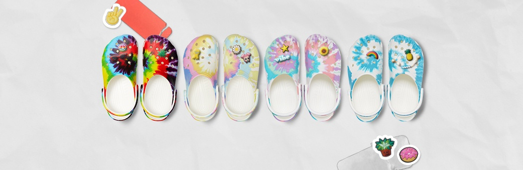 Classic Tie-Dye Graphic Clogs in assorted colors.