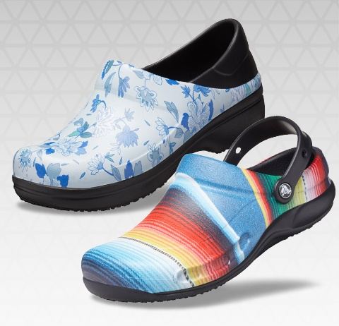 Bistro Graphic Clog and Women's Neria Pro II Graphic Clog.