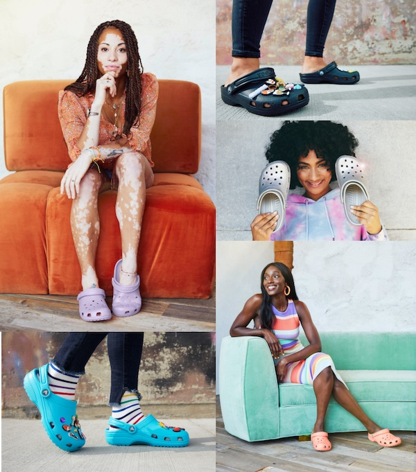 Stylish people posing in Classic Clogs in assorted colors.