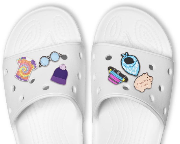 Classic Slide in White with festival-themed Jibbitz.