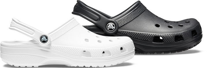 Crocs Classic Clogs in White and Black.