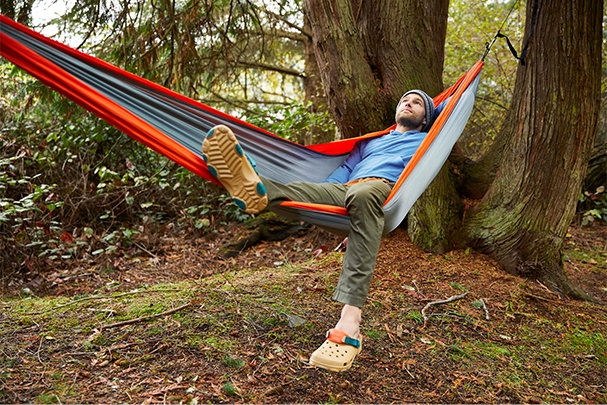 All-Terrain Clog, in a hammock.