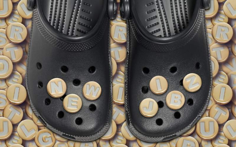 Classic Clogs with Gold Alphabet Jibbitz.