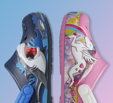 Crocs Fun Lab Shark Clogs and Unicorn Clogs.
