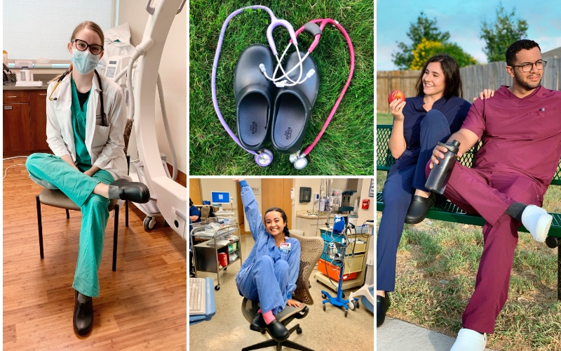 Nurses posing in their workplaces wearing Crocs at Work Clogs.