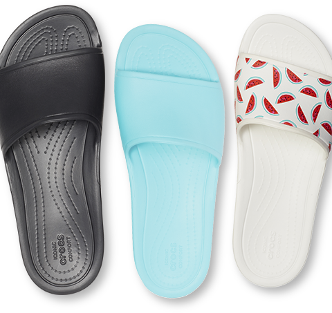 Women's Crocs Sloane Slides in Black and Pool Blue, and Women's Crocs Sloane Seasonal Graphic Slide in Watermelon/White.