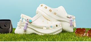 Women's Crocs Classic Bae Iridescent Clog in White.