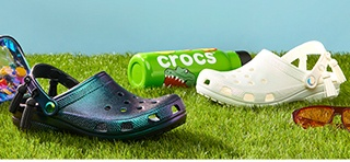 Classic Crocs Iridescent Cloga in White and Black.