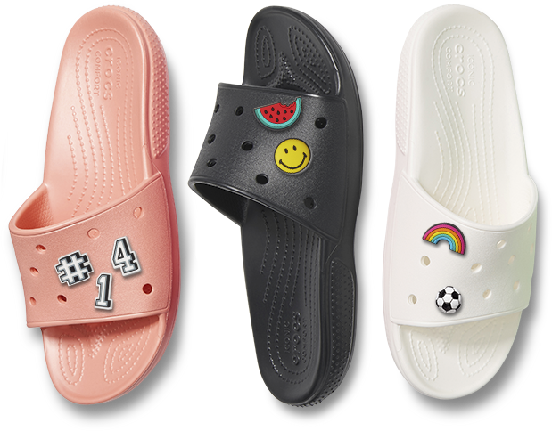 Classic Slides in Melon, Black, & White, with Jibbitz