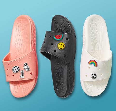 Classic Slides in Melon, Black, & White, with Jibbitz.