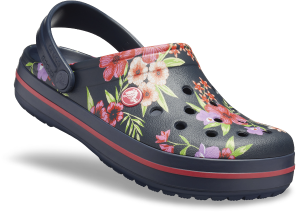 Crocband™ Printed Clog, Tropical Floral/Navy.