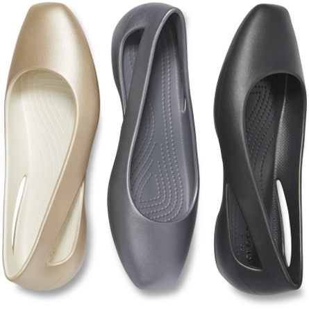 Women's Crocs Sloane Flats in Champagne, Gunmetal, & Black.