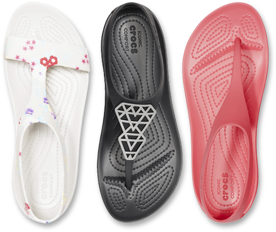 Womens Crocs Serena Graphic Sandal in Tropical Floral/Pearl White & Womens Crocs Serena Embellished Flip in Black/Black & Womens Crocs Serena Flip in Poppy.