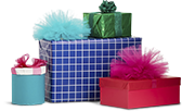 Gifts in colorful wrapping.