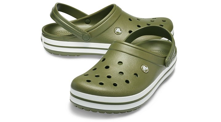 Vintage style and classic Crocs comfort. Our lightweight Crocband  clog is built with signature Croslite  material for a form-to-foot fit and heel straps that swing back for a snug fit and forward or wear as a clog.    Crocs trade  Crocband trade  Details:    Bold midsole stripe for a sporty look.  Odor-resistant, easy to clean, and quick to dry.  Ventilation ports for enhanced breathability.  Lightweight, non-marking soles.  Water-friendly and buoyant  weighs only ounces.  Fully molded Croslite trade  material for lightweight cushioning and comfort.  Heel strap swings back for snug fit, forward for wear as a clog.