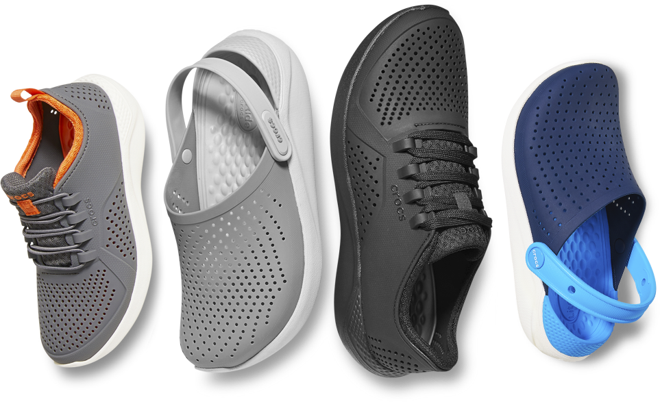 Kids' LiteRide™ Pacer in Charcoal/White & LiteRide™ Clog in Smoke/Pearl White & Men's LiteRide™ Pacer in Black/Black & Kids' LiteRide™ Clog in Navy/White.