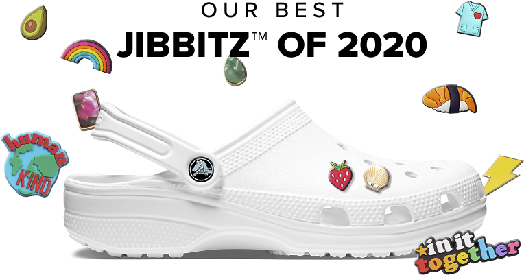 Our Best Jibbitz™ of 2020. Classic Clog in White with Jibbitz™.