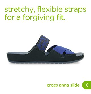 Stretchy, flexible straps for a forgiving fit. Crocs Anna Slide