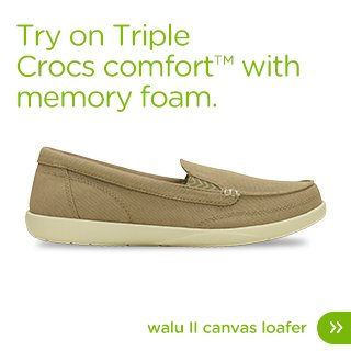 Try on Triple Crocs comfort™ with memory foam. Walu II Canvas Loafer