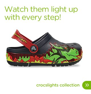 Watch them light up with every step. Crocslights Collection.