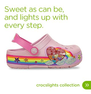 Sweet as can be and lights up with every step. Croclights Collection.