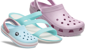 Kids' Crocband™, Pool Blue & Women's Swiftwater Sandal, Pool Bue & Classic Clog, Barely Pink.