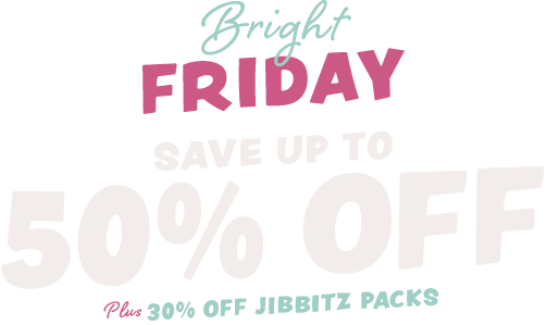 Bright Friday, up to 50% off, Plus 30% off Jibbitz Packs.