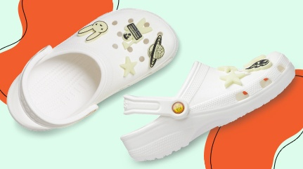 Glow-in-the-dark Bad Bunny Classic Clogs with glow Jibbitz™.