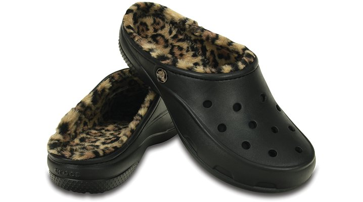 Crocs Womens Freesail Leopard Fuzz Lined Clog | eBay