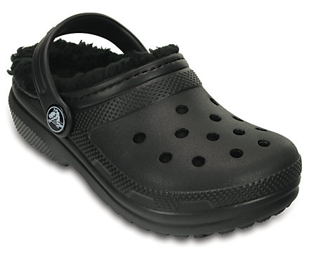 Free Shipping! Crocs New Black Clogs Classic Fuzz Lined Baby Toddler 10 11